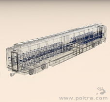 POITRA Visual custom 3D Model DMU commuter vehicle in wire frame.
