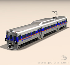POITRA Visual custom 3D Model DMU commuter vehicle with potential RTD colors and marking combinations.