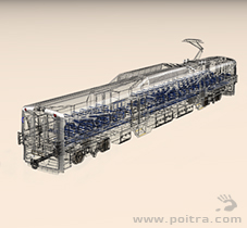 POITRA Visual custom 3D Model EMU commuter vehicle in wire frame.