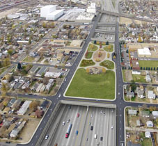 POITRA Visual aerial simulation of I-70 cover proposed view.
