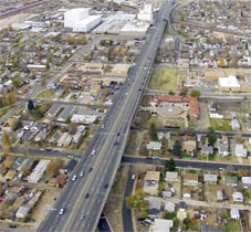 POITRA Visual aerial simulation of I-70 Viaduct existing view.
