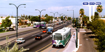 Photosimulations of proposed East Valley Corridor at Tri City Mall (thumbnail image - click for enlargements)